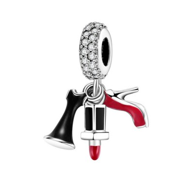 Heels & Lipstick Charm Sterling Silber